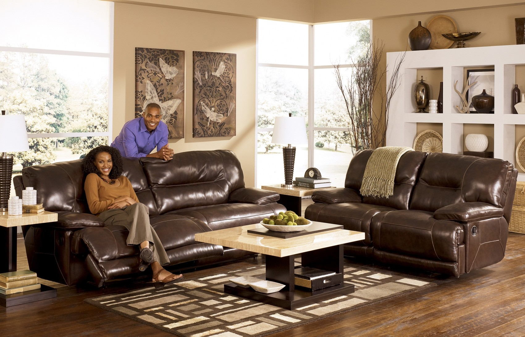 Ashley leather living room furniture for Furniture living room set