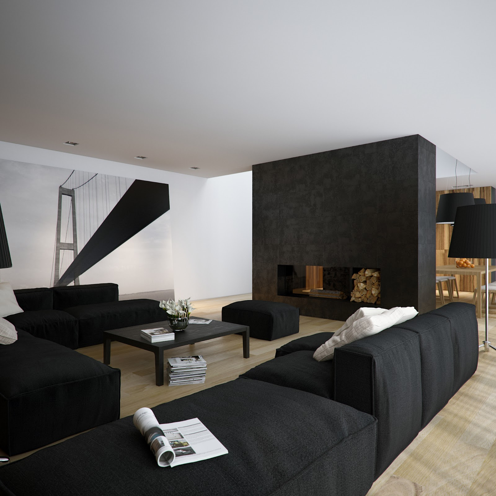 Black wall living room - 52 Ideas Of Black And White Living Rooms Living Room Sergey