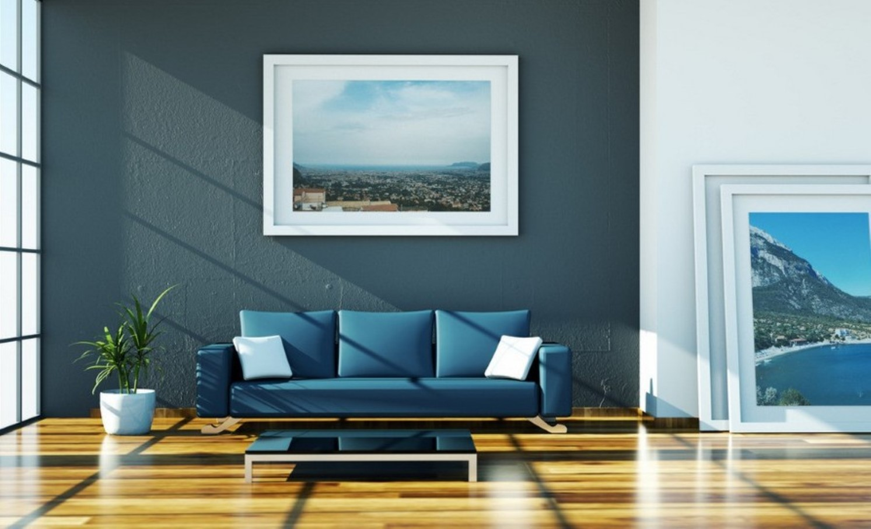 Rustic Modern Living Room Blue