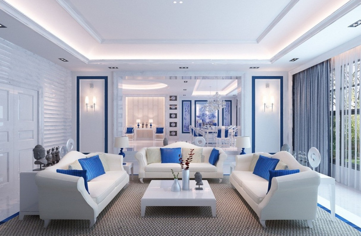 Shades of blue living room for Decorating ideas for blue living rooms