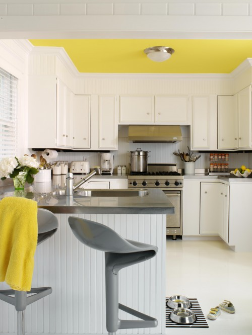 Modern yellow and grey kitchen
