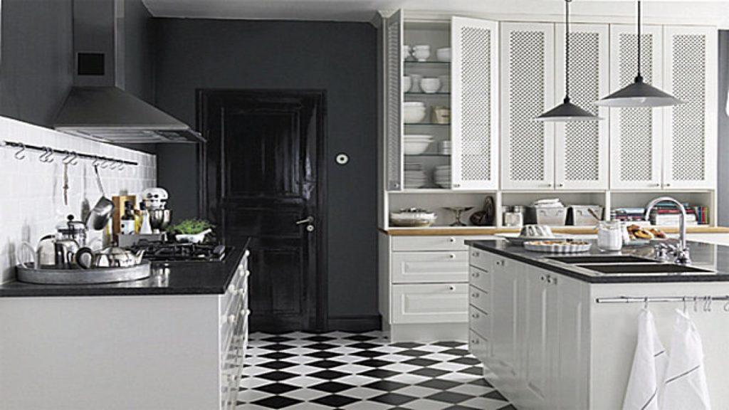 Kitchen floor tile black and white