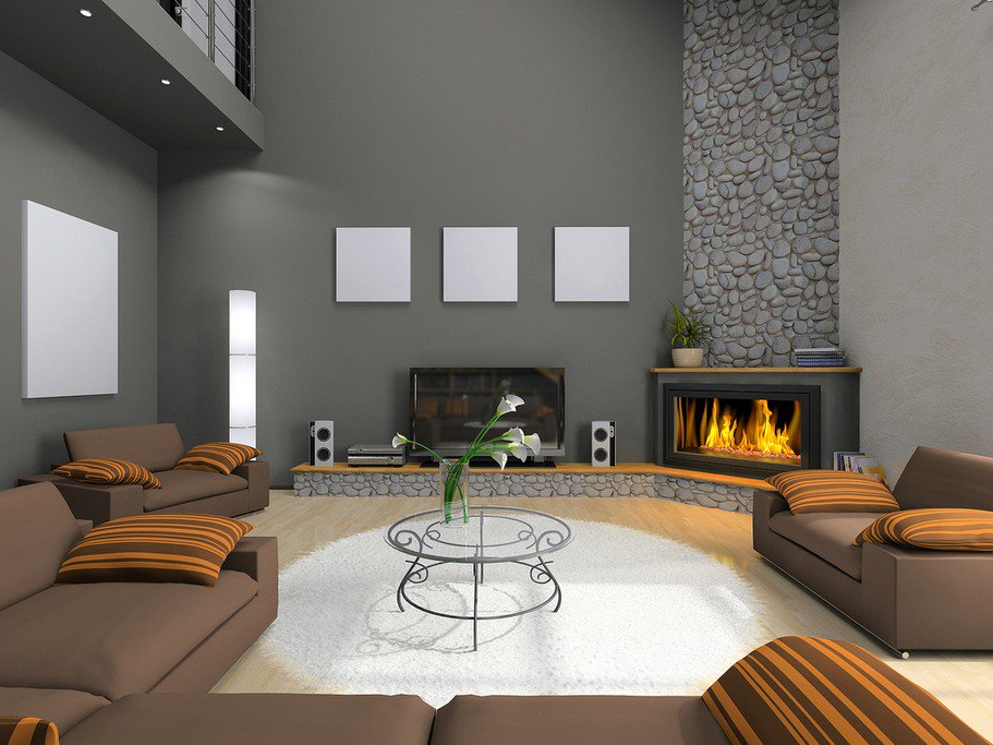 Living room designs corner fireplace