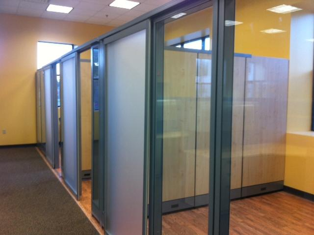 Office cubicle glass walls