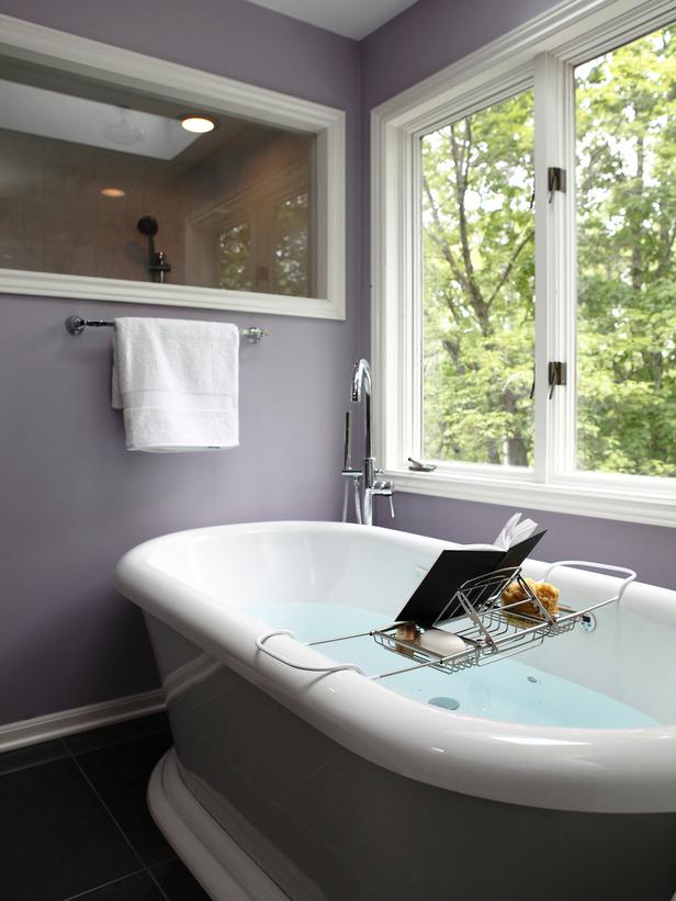 Spa bathroom window treatments