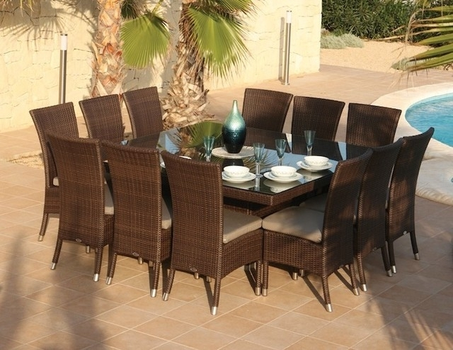 Square dining table seats 12