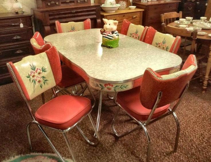 1950メs retro kitchen table chairs photo - 2