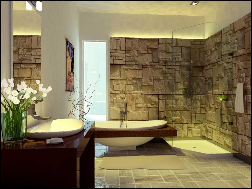 Bathroom Stone Wall Design photo - 10