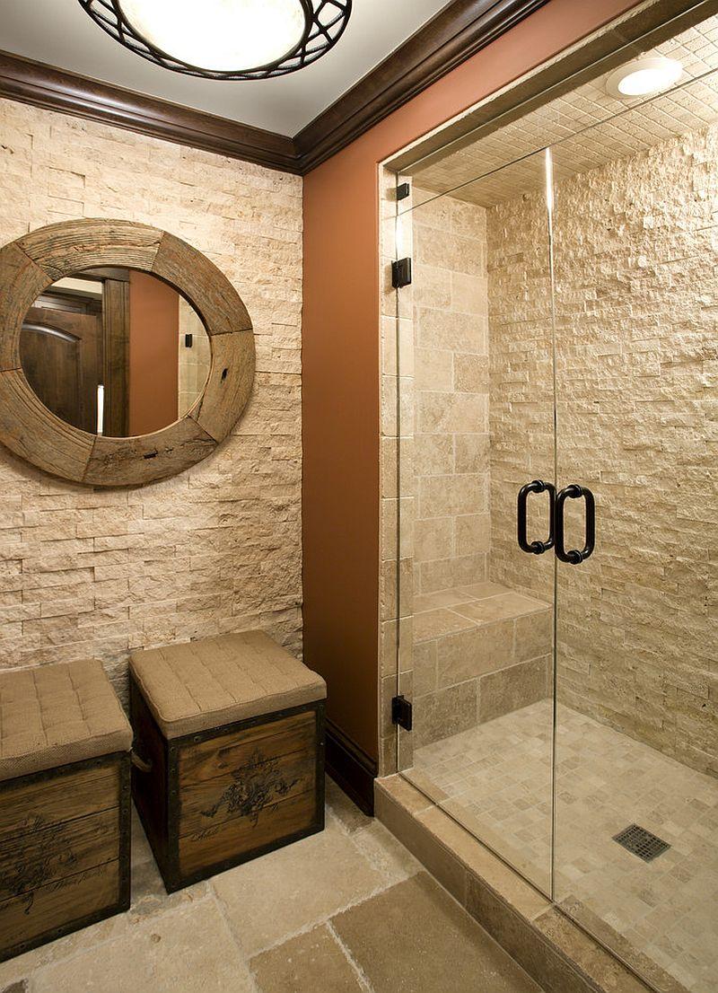Bathroom Stone Wall Design photo - 3