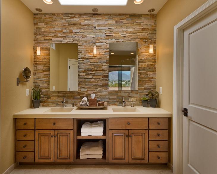 Bathroom Stone Wall Design photo - 4