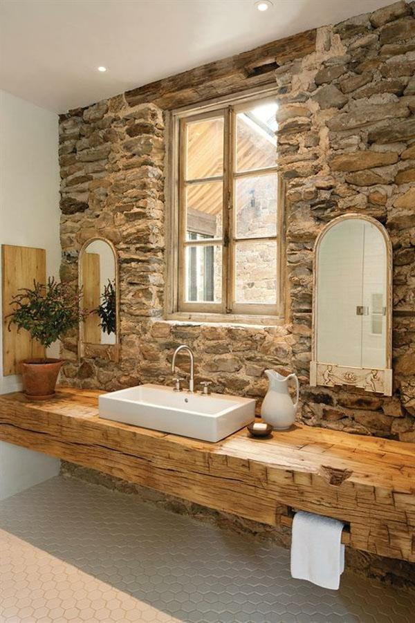 Bathroom Stone Wall Design photo - 5