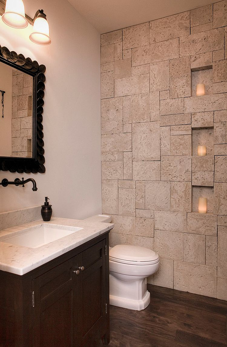 Bathroom Stone Wall Design photo - 7
