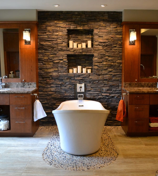 Bathroom Stone Wall Design photo - 8