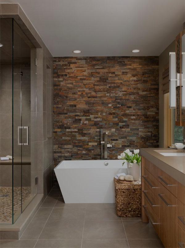 Bathroom Stone Wall Design photo - 9