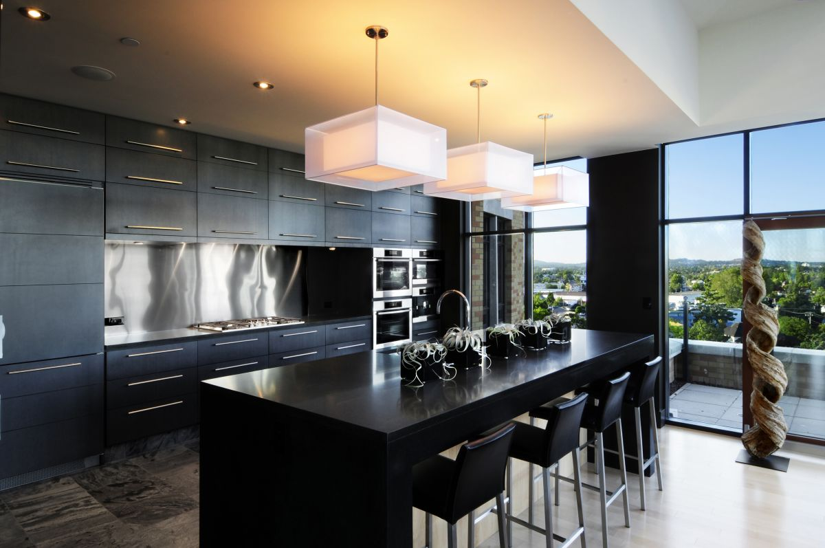 Black Modern Kitchen Interior Design photo - 10