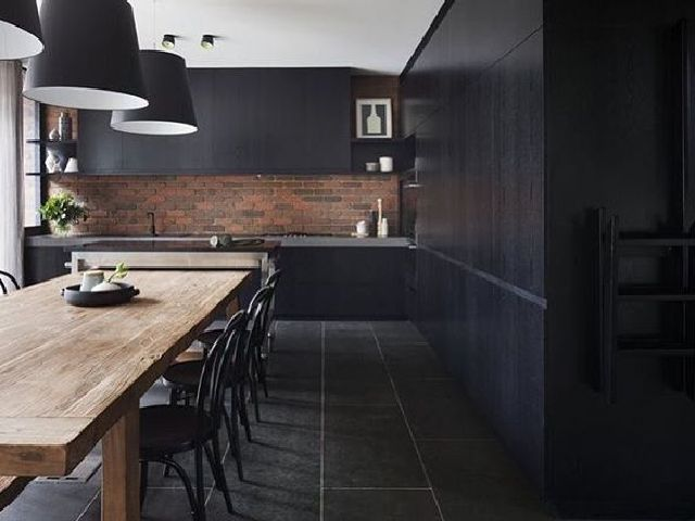 Black Modern Kitchen Interior Design photo - 9