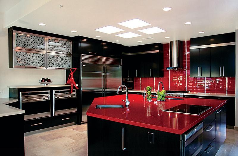 Black and Red Modern Kitchen photo - 1