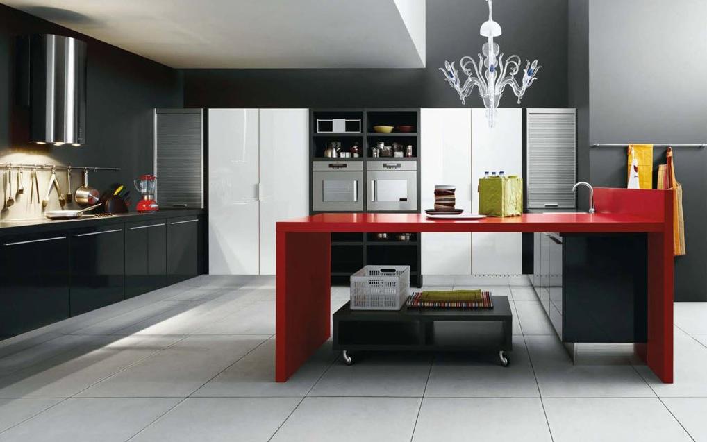 Black and Red Modern Kitchen photo - 2