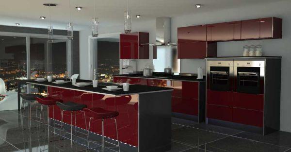 Black and Red Modern Kitchen photo - 3