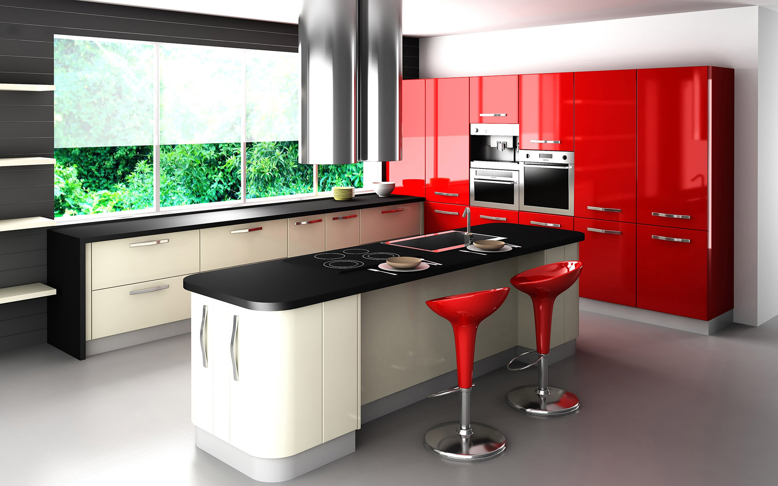Black and Red Modern Kitchen photo - 4