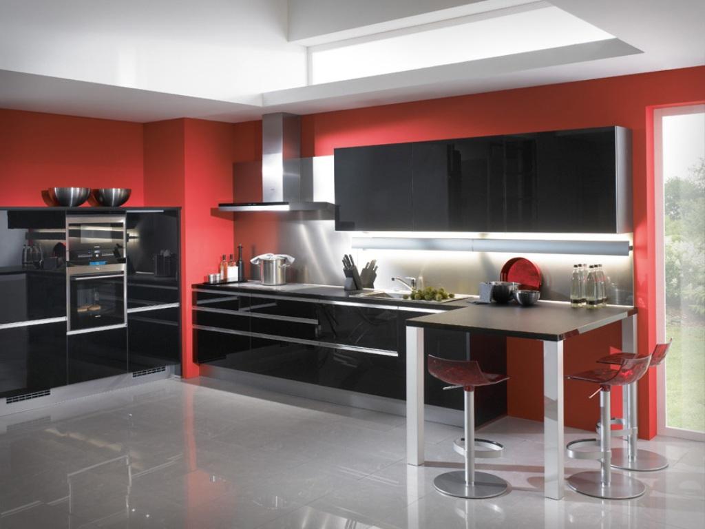 Black and Red Modern Kitchen photo - 5