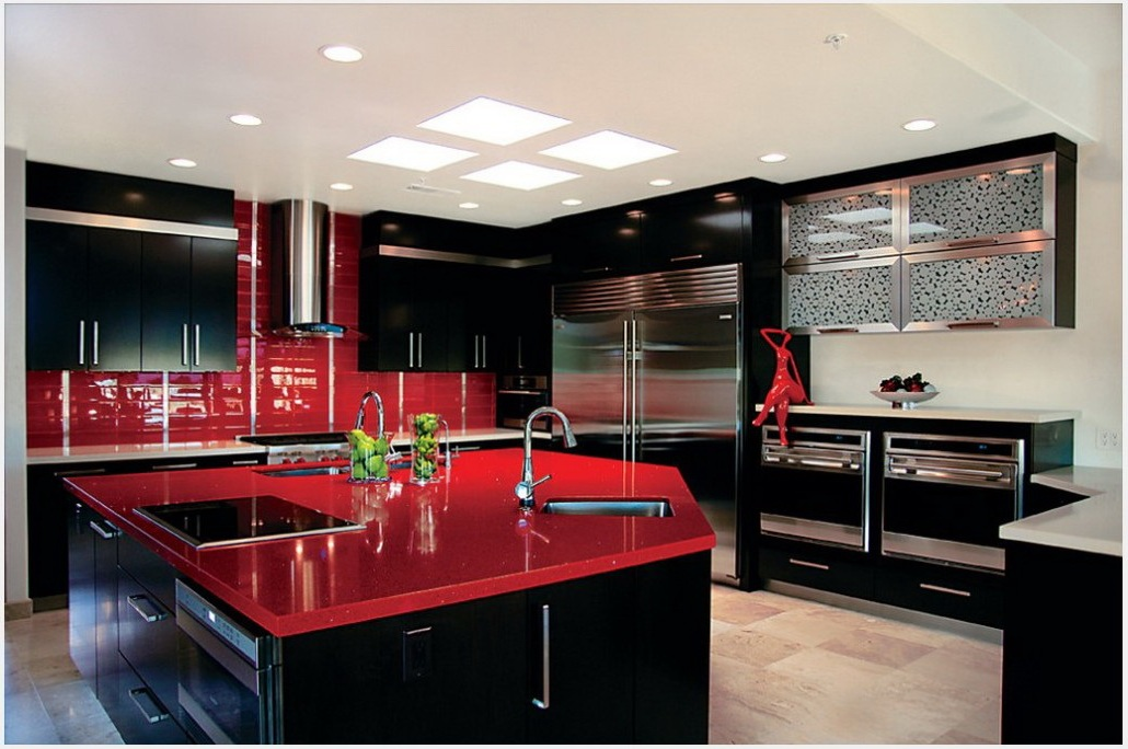 Black and Red Modern Kitchen photo - 6