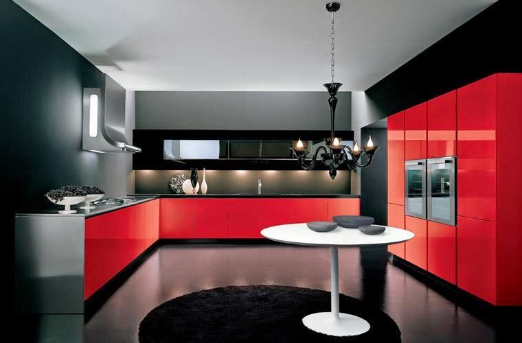 Black and Red Modern Kitchen photo - 7
