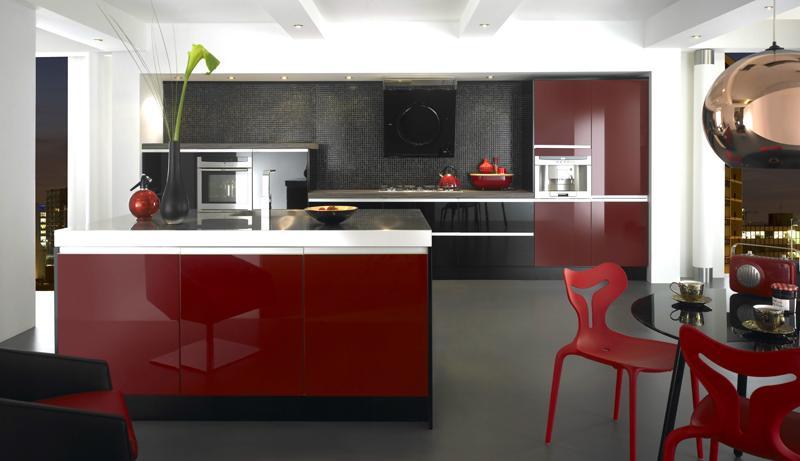 Black and Red Modern Kitchen photo - 8