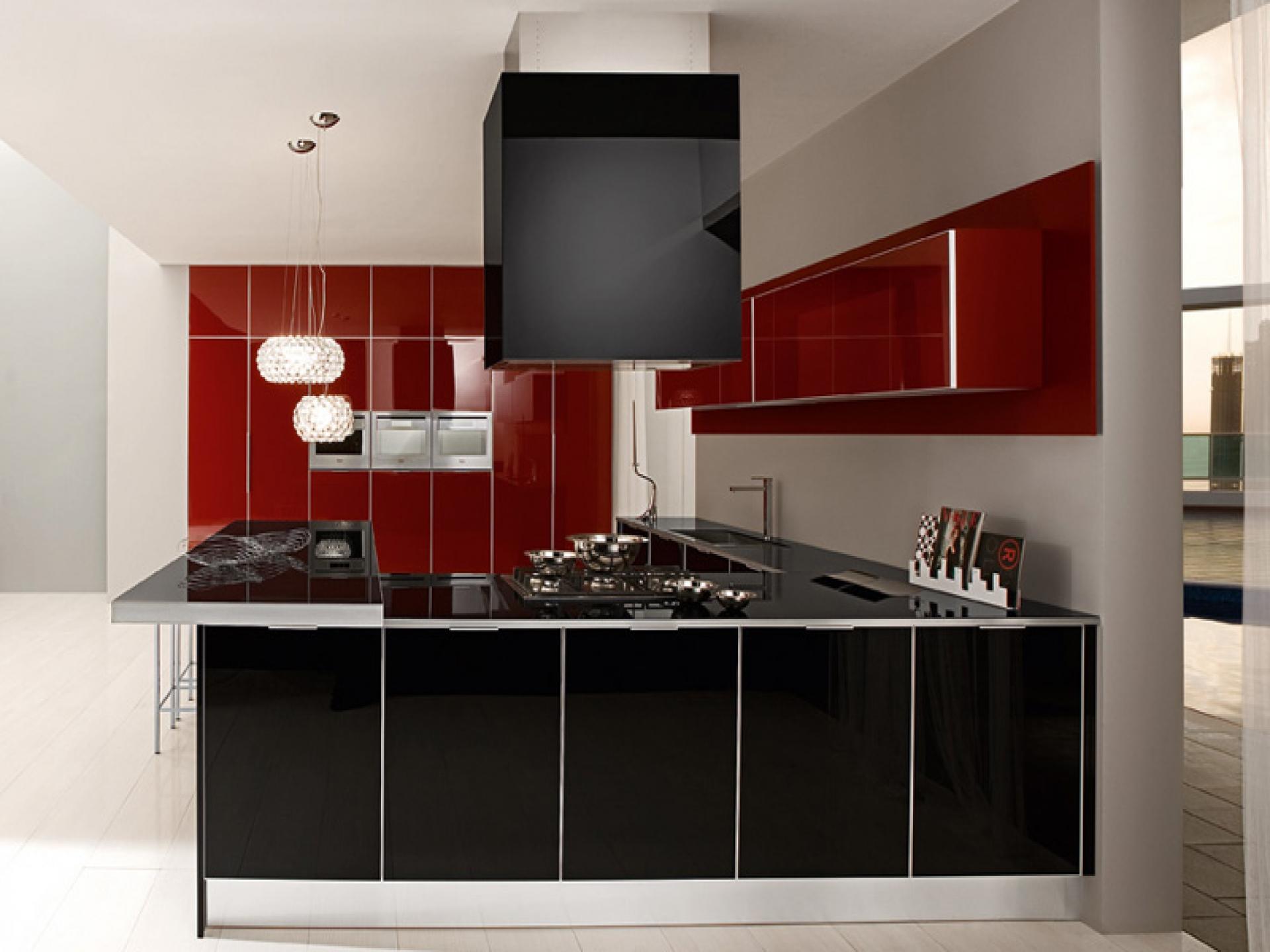Black and Red Modern Kitchen photo - 9