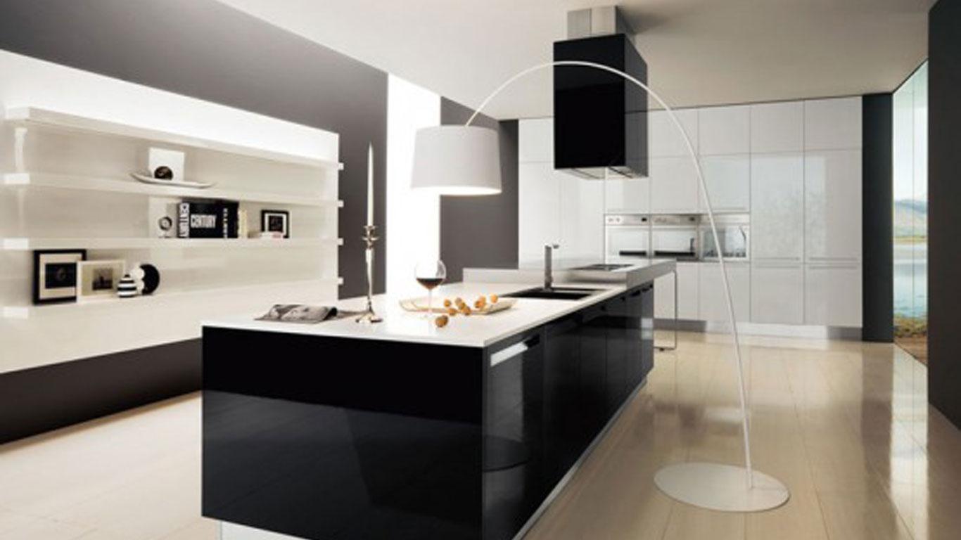 Black and White Kitchen Interior photo - 1