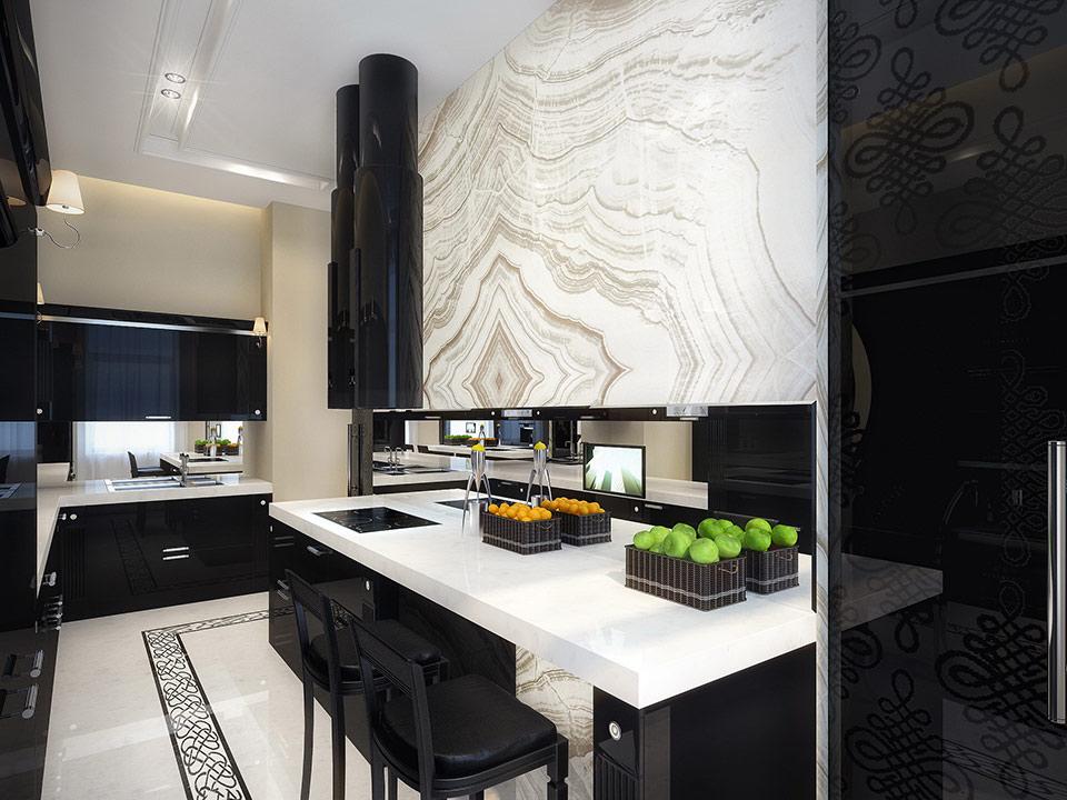 Black and White Kitchen Interior photo - 7