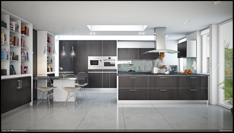 Black and White Kitchen Interior photo - 9