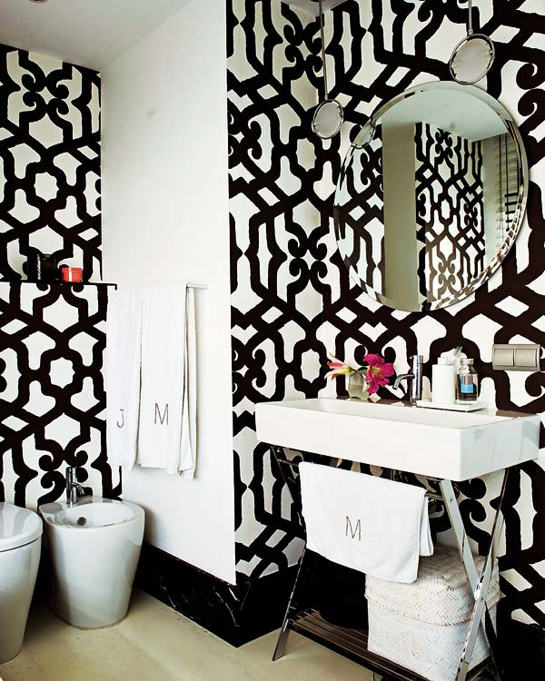 Black and White Wallpaper for Bathrooms photo - 6