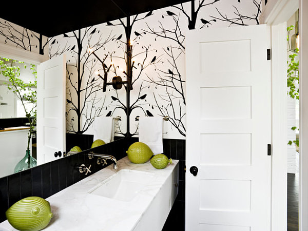 Black and White Wallpaper for Bathrooms photo - 9