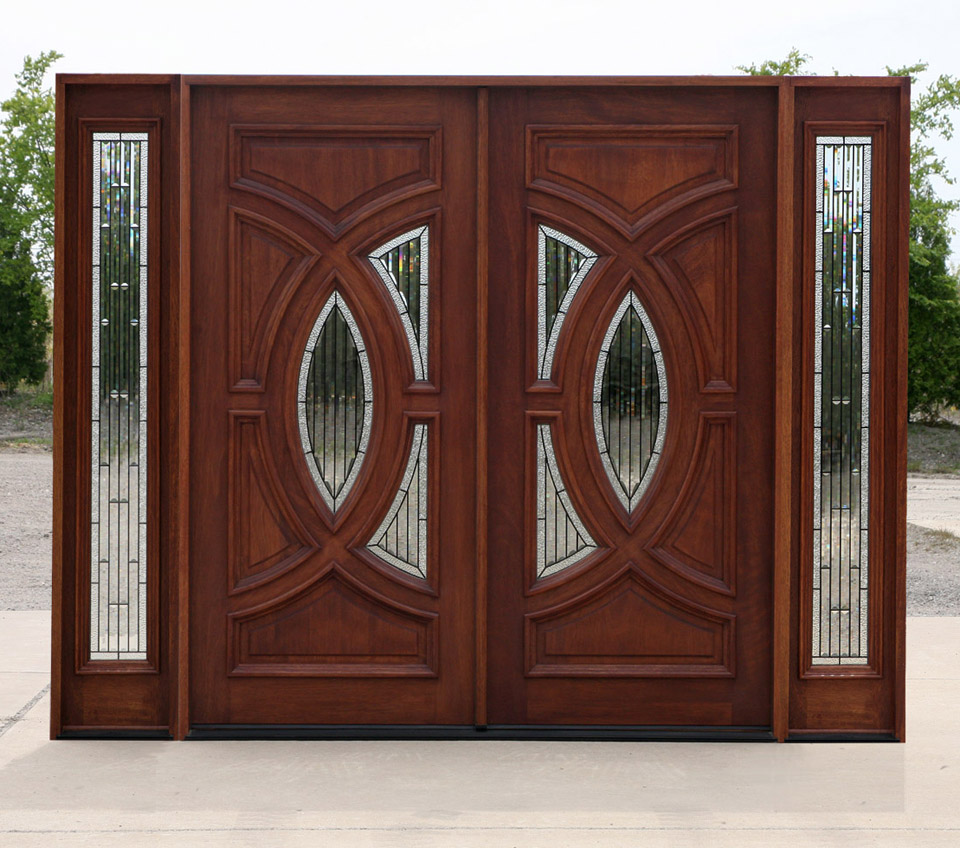 Elegant Mahogany and Glass Arch Double Front Door Home Design photo - 10