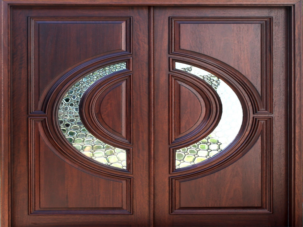 Elegant Mahogany and Glass Arch Double Front Door Home Design photo - 4