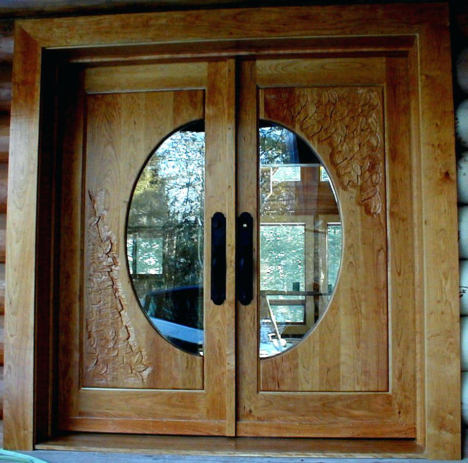 Elegant Mahogany and Glass Arch Double Front Door Home Design photo - 5