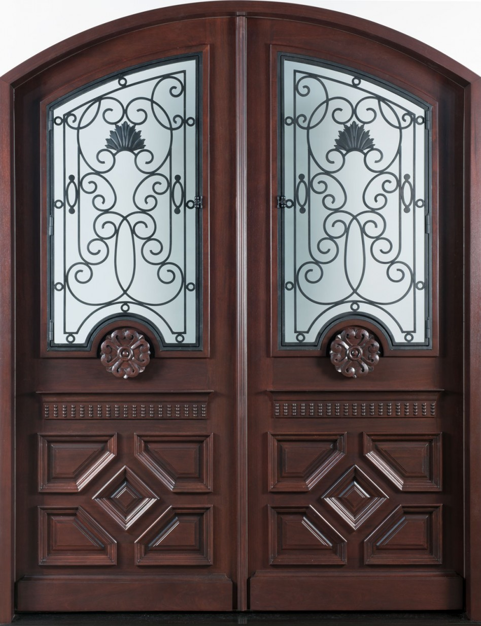 Elegant Mahogany and Glass Arch Double Front Door Home Design photo - 6