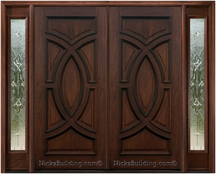 Elegant Mahogany and Glass Arch Double Front Door Home Design photo - 7