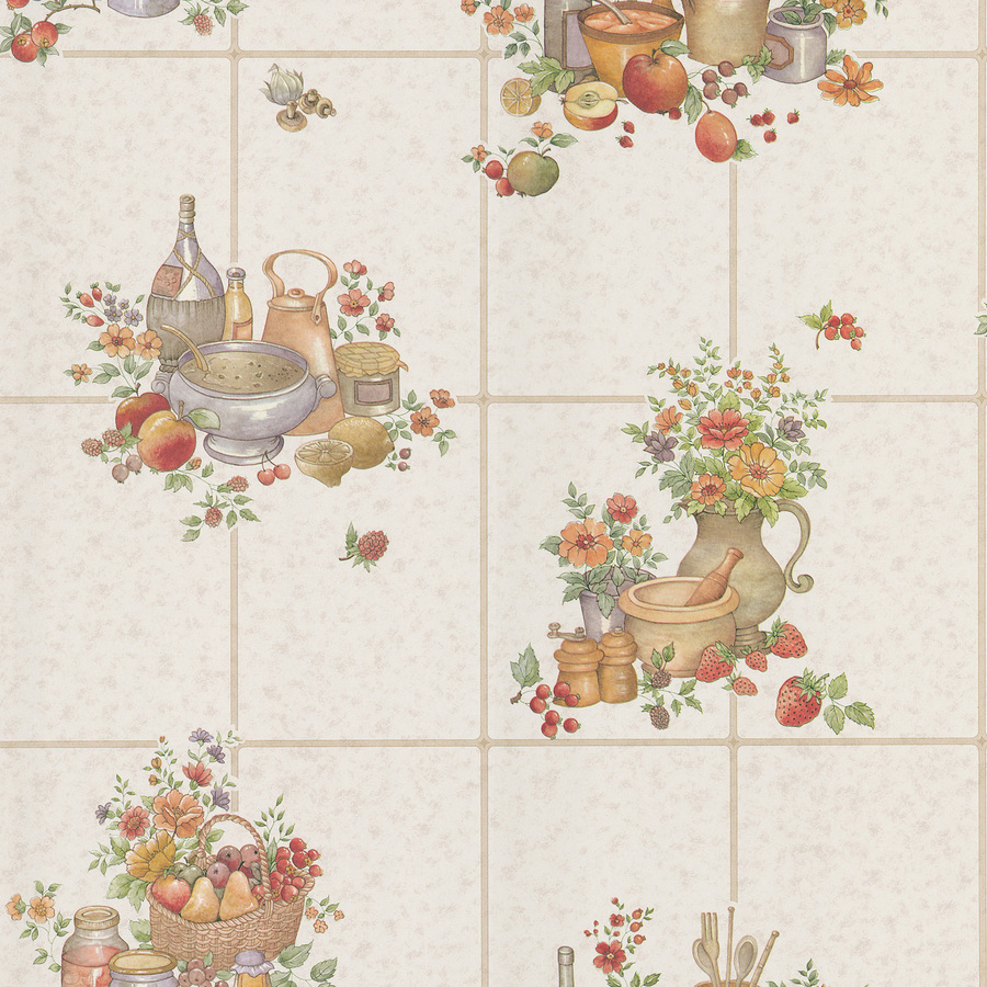 Fruity Wallpaper on an Old-Fashioned Kitchen photo - 7