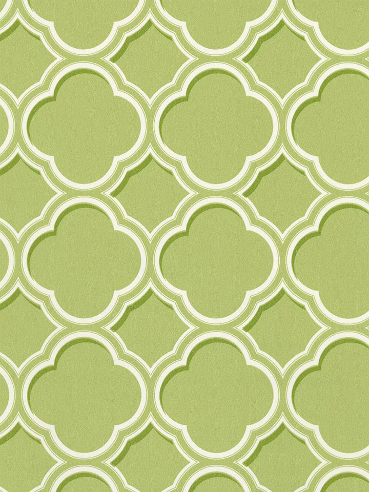 Geometric Green Wallpaper with Rattan Chair photo - 2