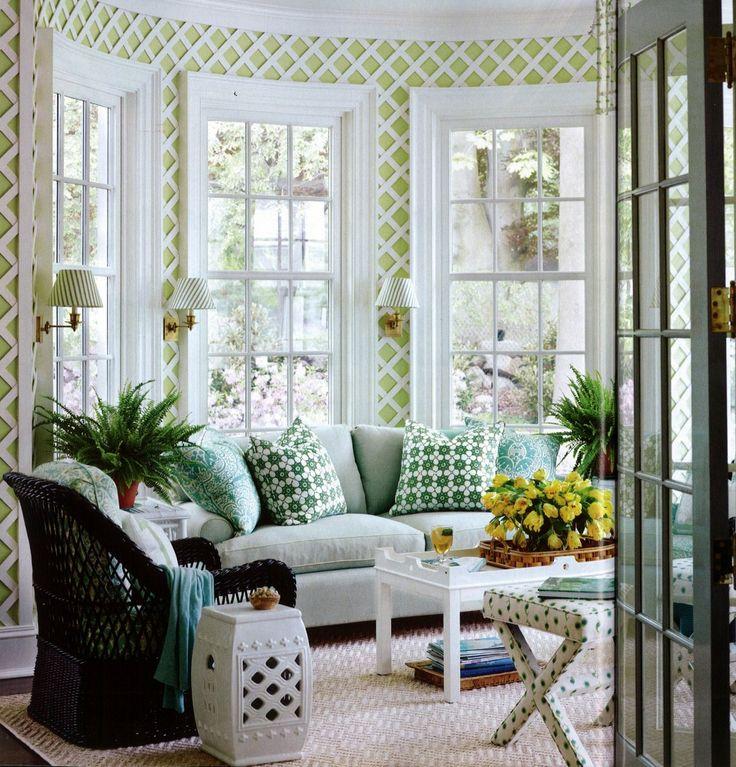 Geometric Green Wallpaper with Rattan Chair photo - 4