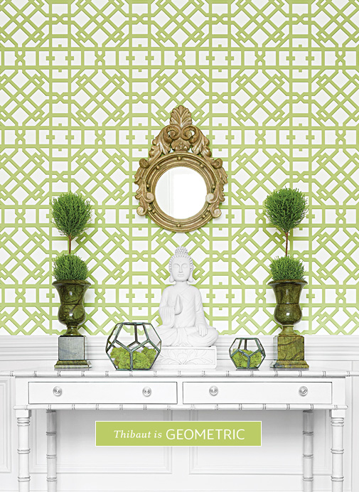 Geometric Green Wallpaper with Rattan Chair photo - 6