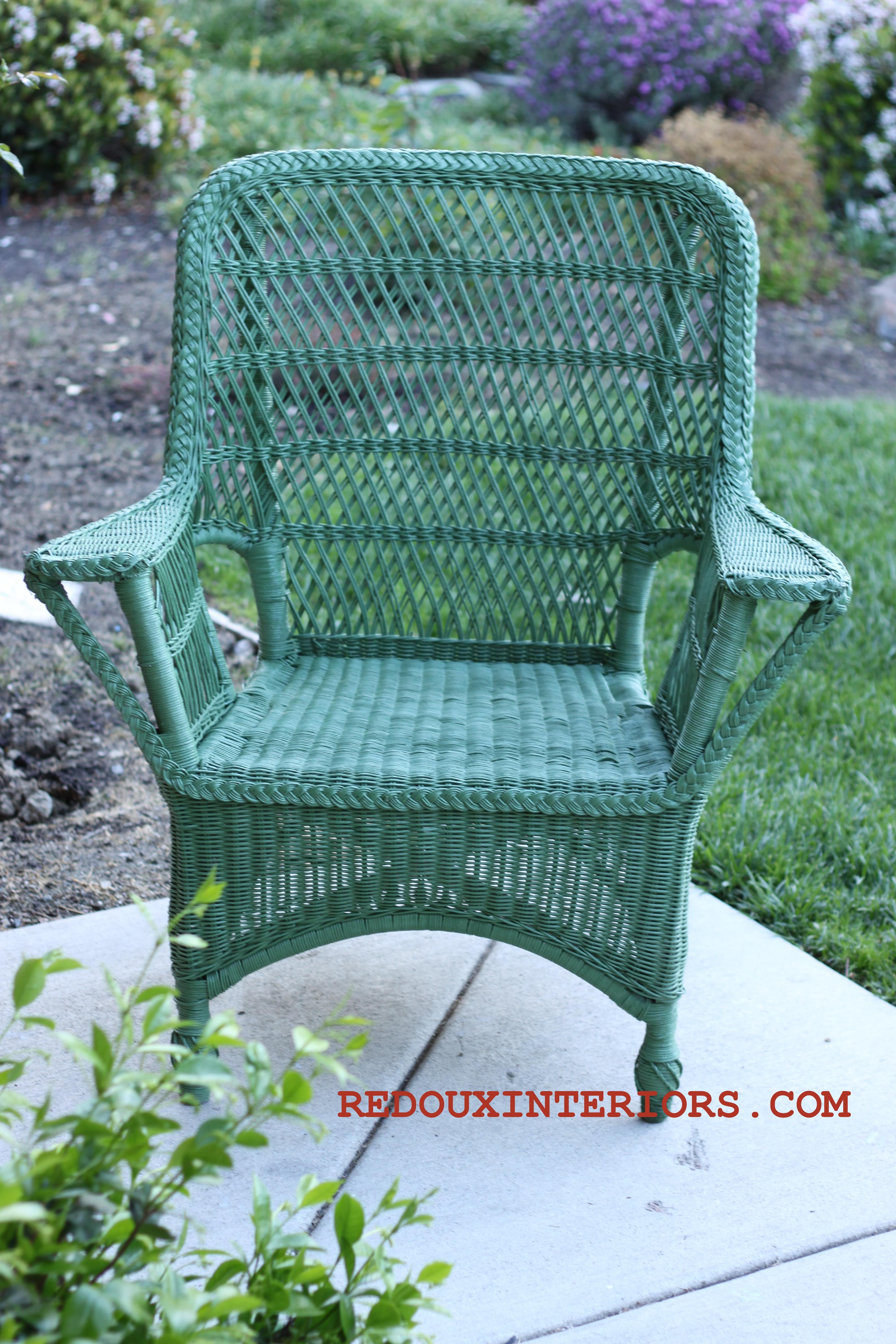 Geometric Green Wallpaper with Rattan Chair photo - 8
