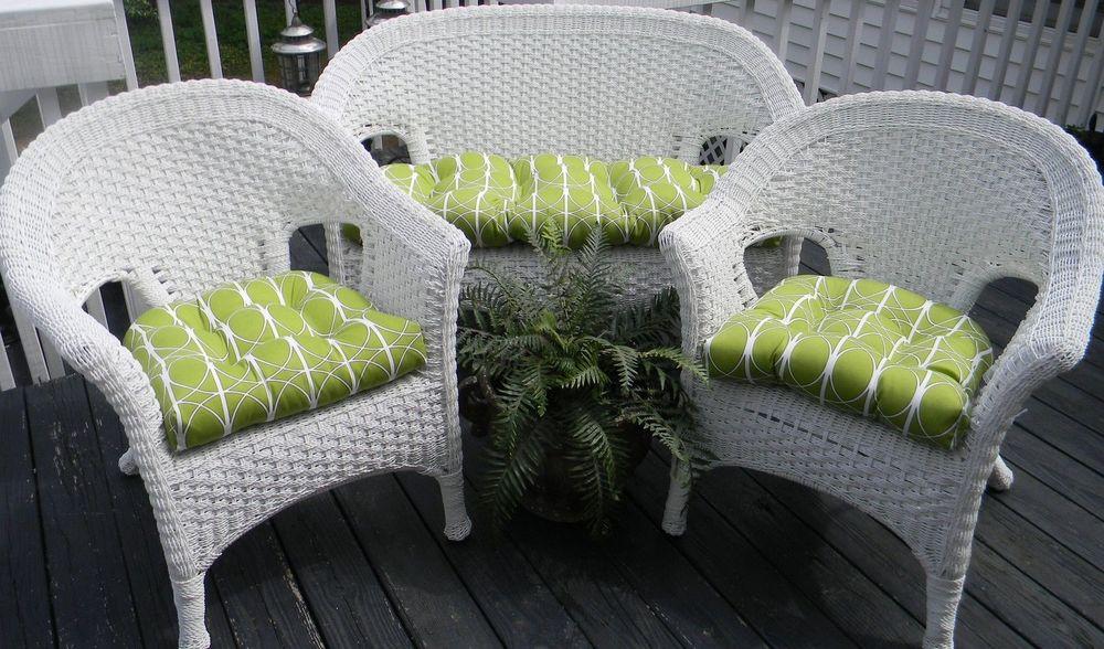 Geometric Green Wallpaper with Rattan Chair photo - 9