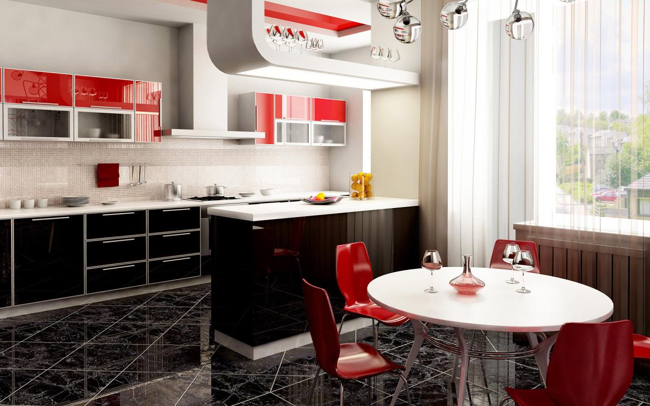Red Kitchen Interior photo - 8