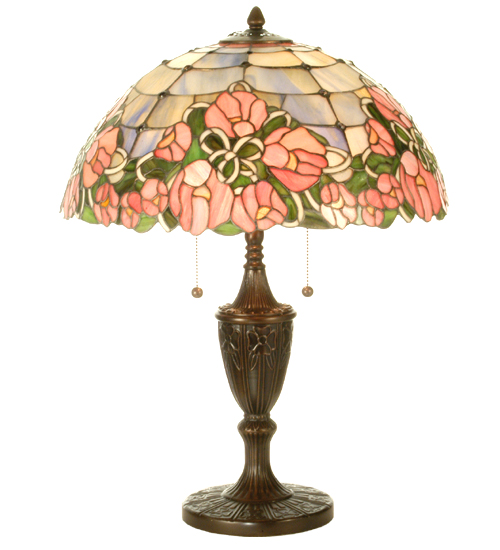 Red Rose Stained Glass Table Lamp Shades photo - 2