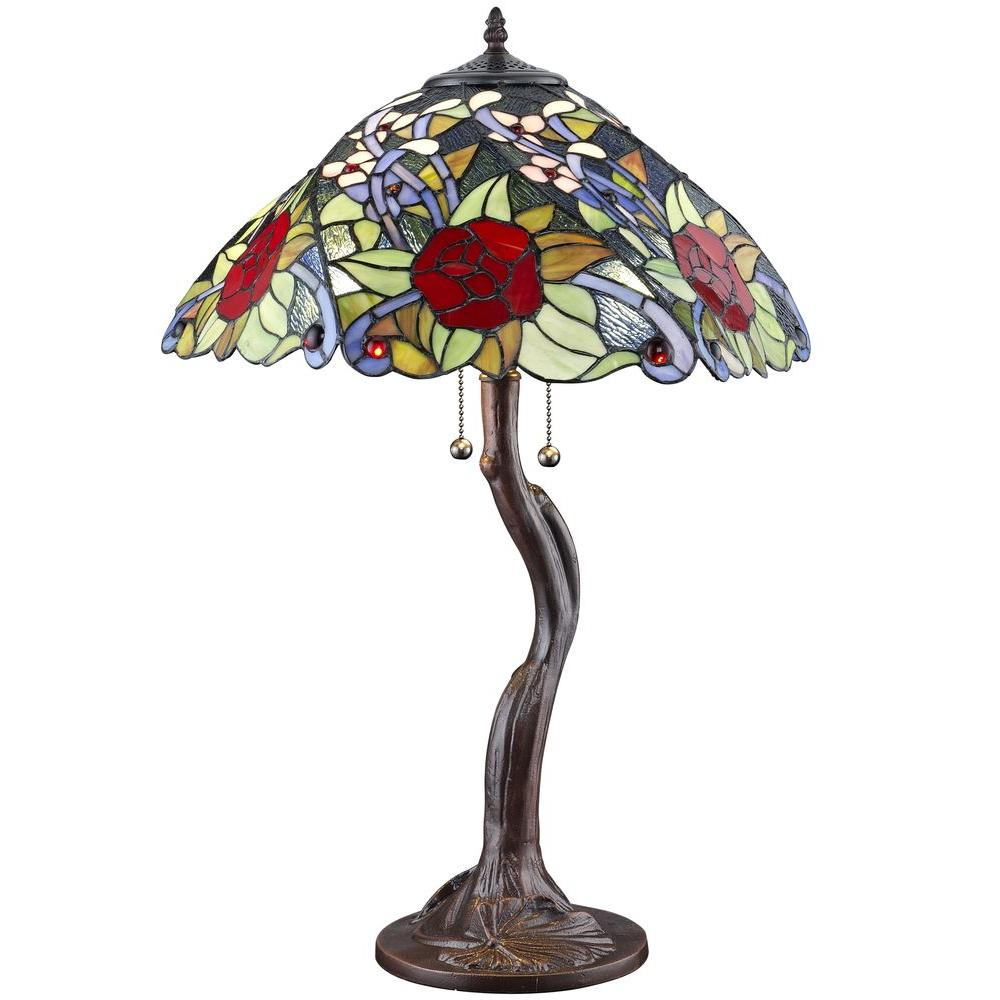 Red Rose Stained Glass Table Lamp Shades photo - 4
