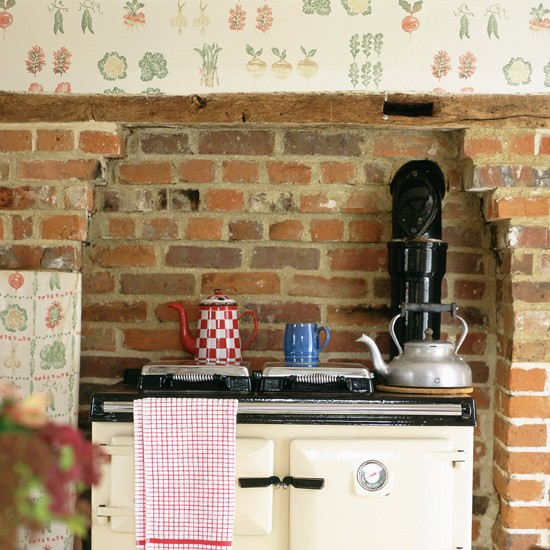 Rustic Kitchen with Fruit and Vegetable Print Wallpaper photo - 7