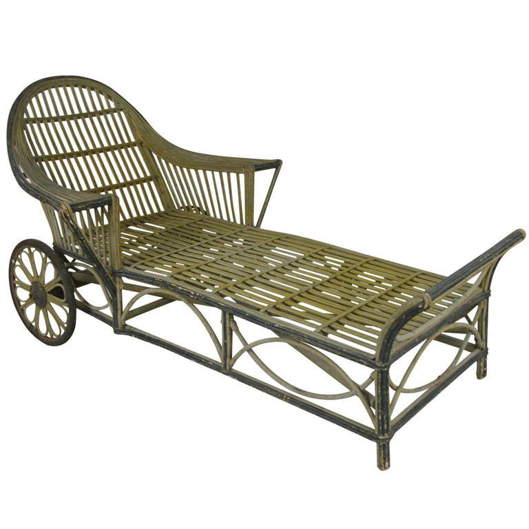 Vintage 1940s Wicker Chaise photo - 9